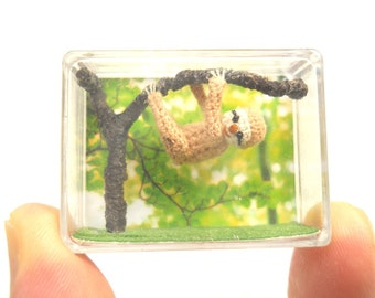 Miniature Fawn Sloth  - Micro Crochet Dollhouse Amigurumi Animals - Made To Order