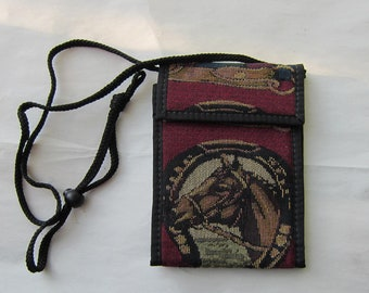 Tapestry Fabric HORSEHEAD in HORSESHOE Equestrian Wallet Purse w/Corded Strap made in USA