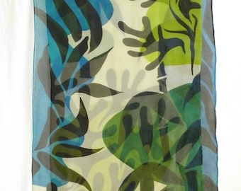 Hand Painted Silk Chiffon Scarf with Tropical Feel! - Manganese Blue, Emerald and Lime