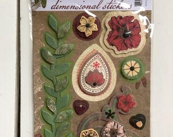 BoBunny Dimensional Stickers, Serenade, Serenity, for planning, scrapbooking, card making, art journaling, mixed media