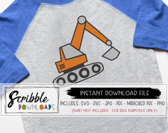 tractor svg farmer trucks excavator svg pdf iron on shirt birthday boy boys svg instant digital download printable dxf silhouette Cricut cut