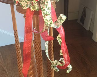 Christmas Bannister Tree Topper Door Bow with Tails