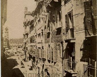 Verona street view antique photo Italy