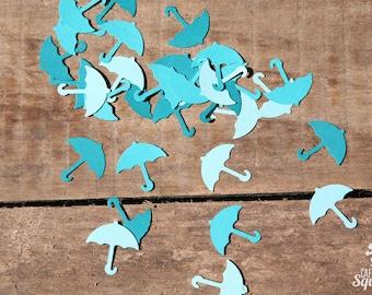 Teal Umbrella Confetti, 3 Shades of Teal, Baby Shower, Wedding Shower, Invitation