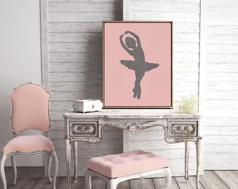 Canvas Prints Wall Art or Giclee Print for Home Decor or Nursery with Pink, Ballet theme and Modern Feel ballerina Gift Idea