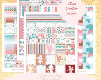 Printable Erin Condren Horizontal planner Weekly kit/ Instant Download / Weekly/ With Cut Files / Angel / Cupid