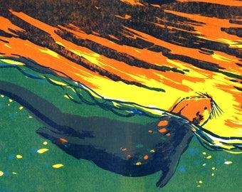 Sea Otter Original Screenprint