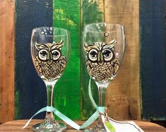 Owl wine glasses