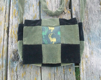 Black Green Recycled Corduroy Crossbody Purse Loki Long Strap