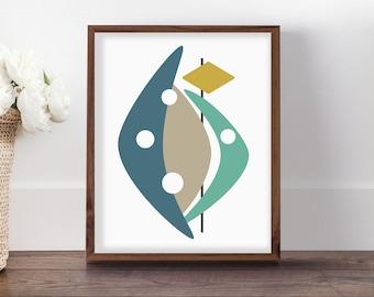 Mid Century Modern Art, Midcentury Art, Turquoise Printable, 1950s Art, Midcentury Nursery, Boomerang Art, Retro Art, Geometric Art Print