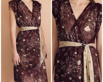 Vintage Oxblood Wrap Dress with Sash - 70's