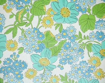 Retro Wallpaper by the Yard 70s Vintage Wallpaper - 1970s Aqua Blue and Yellow Floral with Green Leaves on White