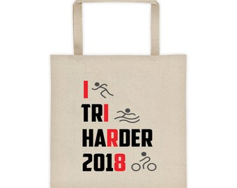 Cute I Tri Harder 2018 Triathlon Sports Game Biking Swimming Running Print Tote bag