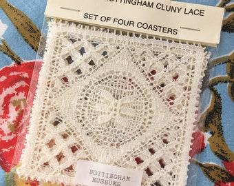 Vintage Genuine Nottingham Cluny Lace Set of Four Coasters
