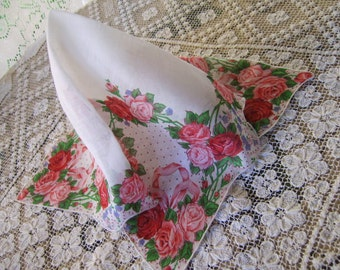 Large Sized Vintage Red PInk Roses and Ribbons Dotted Hanky Handkerchief/Scarf