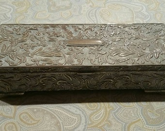 Vintage ornate silver metal jewelry box