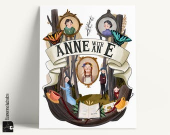 Anne with and E Illustration, Anne with and E serie poster, Netflix show, Anne of Green Gables print, print poster