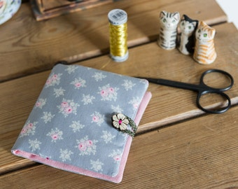 Sewing case or kit made with soft lightweight Tilda cotton print and linen blend fabric, in greys and pinks