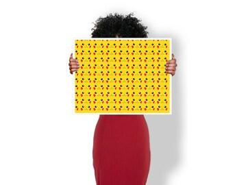 Pikachu Face Pattern pokemon - Art Print / Poster / Cool Art - Any Size