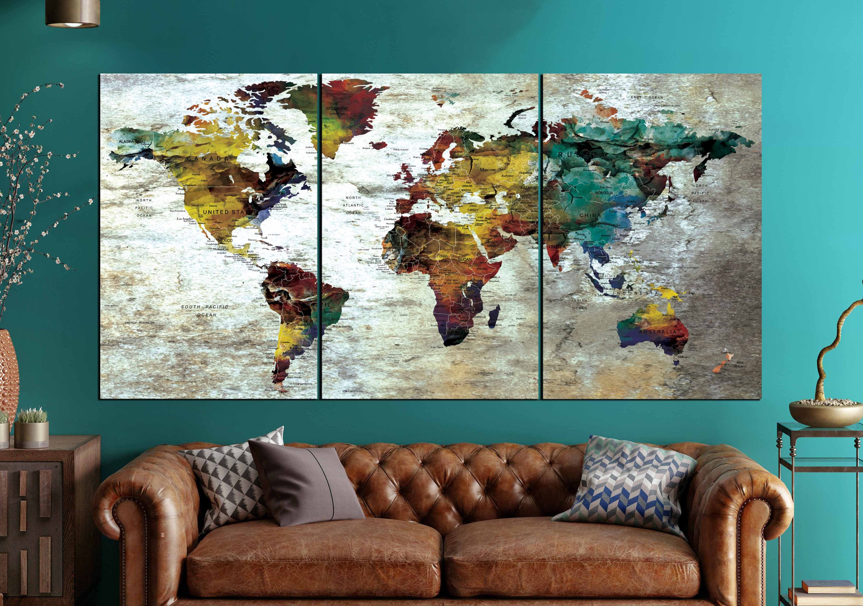 Detailed push pin map large canvas panelworld map wall artlarge detailed push pin map large canvas panelworld map wall artlarge world mapworld map canvasworld map printworld map artpush pin map art gumiabroncs Gallery