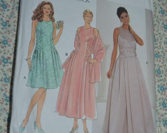 Simplicity 7636 Jessica MCcLintock Misses Dress and Wrap  Sewing Pattern - UNCUT - Size 12 14 16