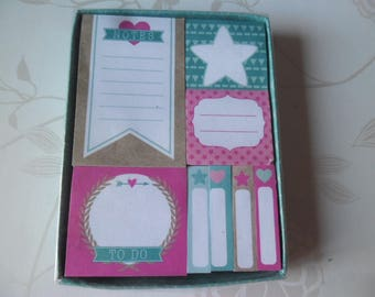 x 1 box of 8 mixed notes blocks 8 x 60 sheets paper stickers patterned