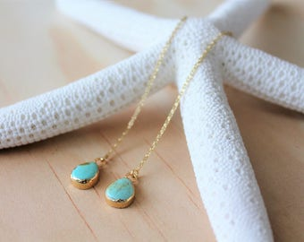 Turquoise Gold Threader Earrings / Gemstone Drop Earrings / Turquoise Teardrop Gold Earrings / Gold Chain Turquoise Earrings