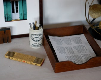 Vintage Desktop Set - Wood Tray Organizer with Wooden Ruler and Dundee Jar