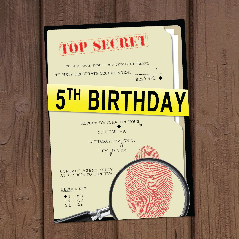 Secret agent spy birthday party invitation zoom filmwisefo Image collections