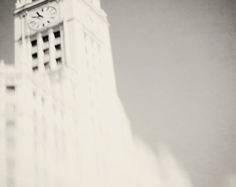 Chicago Photography, Wrigley Building, Wall Art Print, Home Decor  - Black and White Photograph, Urban Home Decor, Fine Art, Abstract Art