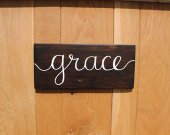 Grace Handlettered Sign | Grace Sign | Custom Sign | Free Shipping