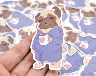 "Coffee Pug 3"" Vinyl Sticker"