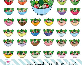 45 Doodle Salad Clipart. Salad bowl Clipart. Personal and comercial use.