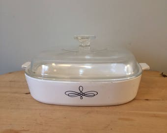 """Very Rare Retired Corningware Pattern """"Trefoil"""" in large 10 inch casserole dish-great condition"""