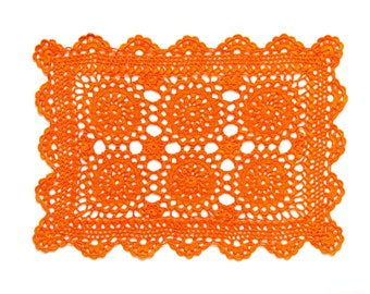 Rectangular Orange hand dyed Crochet Doily Vintage doily