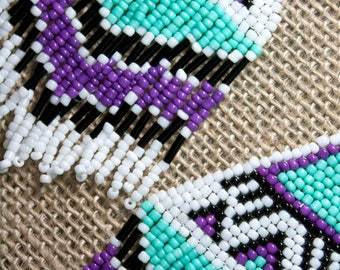 Turquoise Purple Lavendar Lilac Native American Seed Bead Earrings