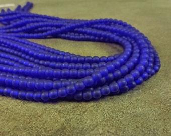 Matte Cobalt Czech Glass Druk 4mm 100pc Strand Round Beads