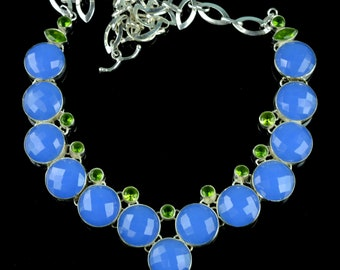 Faceted Chalcedony & Peridot Studded Sterling Silver Necklace,Statement Necklace