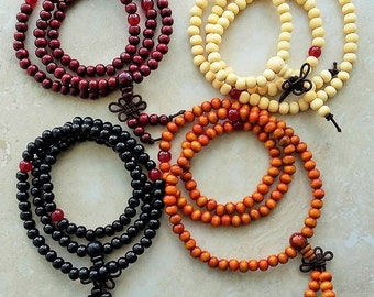 4 PACK ~ Sandalwood Wrist Mala 108 Beads Elastic Bracelet 20 Inches