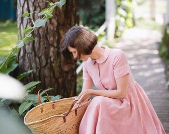 Linen Dress, Linen Clothing, Plus Size Maxi Dress, Women Summer Dress, Romantic Dress, Short Sleeves Dress / Rose Pink Classic Dress SS