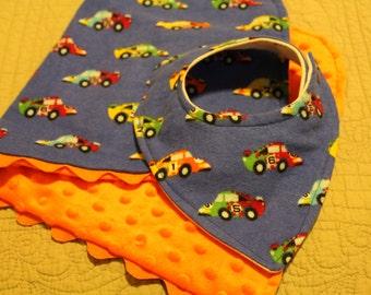 Baby boy bib, baby shower gift, bib and burp cloth, race cars, minky dot fabric, drool bib, adjustable bib, organic bamboo