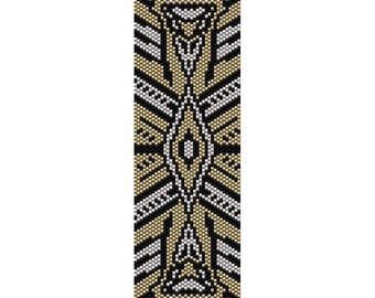 Art Deco 10 Peyote Bead Pattern, Bracelet Cuff Pattern, Bookmark Seed Beading Pattern Miyuki Delica Size 11 Beads - PDF Instant Download