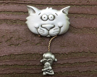 Vintage Jewelry Signed JJ Jonette Kitty Cat with Mouse Pin Brooch