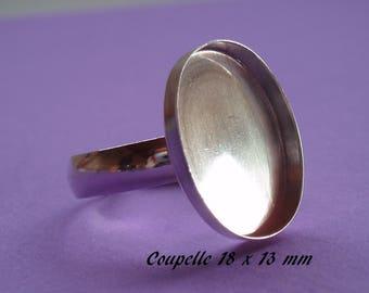 Support bague en argent .925, anneau lisse,, coupelle 18 x 13 mm