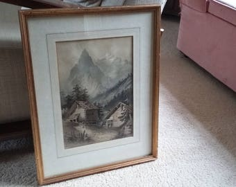 Vintage Far East Mountain Watercolour Original Huts