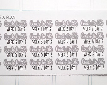Planner Stickers C25K Couch to 5k Program for Erin Condren, Happy Planner, Filofax, Scrapbooking