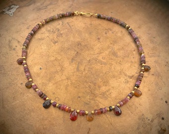 tourmaline gemstone necklace with solid gold 18k