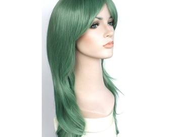 Long wavy jade green wig. synthetic hair. high quality wig. ready to ship.