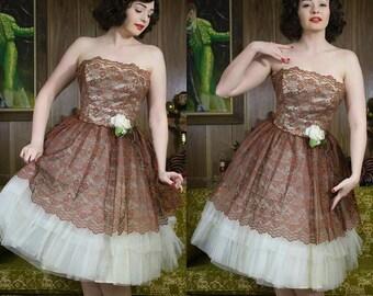 50s Party Dress | 50s Prom Dress | Tea Length Dress | 50s Tulle Dress | 50s Dress | 1950s Dress | 50s Strapless Dress | 50s Copper Dress |