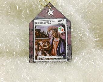 Bottecelli Madonna and Child Tiny Shrine House Shape Ornament, Postage Stamp Art